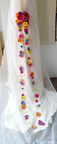 他の写真2: 造花オーダーメイドブーケ クラッチ22・ブトニアヘッドパーツ・バックコサージュ&花ツタ(ビビッドカラーミックス)