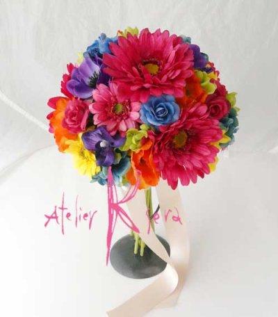 画像2: 造花オーダーメイドブーケ クラッチ22・ブトニアヘッドパーツ・バックコサージュ&花ツタ(ビビッドカラーミックス)