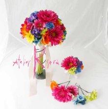 他の写真3: 造花オーダーメイドブーケ クラッチ22・ブトニアヘッドパーツ・バックコサージュ&花ツタ(ビビッドカラーミックス)