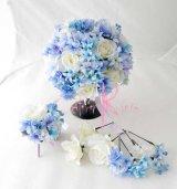 造花オーダーメイドブーケ  ラウンド22・ブトニア ヘッドパーツ (ブルーパープルグラデーション&Wローズ)