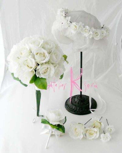 画像1: 造花オーダーメイドブーケ クラッチ25・ブトニア・花冠・ヘッドパーツ(ホワイトローズ)