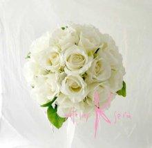 他の写真3: 造花オーダーメイドブーケ クラッチ25・ブトニア・花冠・ヘッドパーツ(ホワイトローズ)