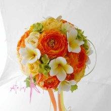 他の写真3: 造花オーダーメイドブーケ クラッチ22・ブトニアヘッドパーツ・リストレット・花冠(ラナンキュラスMIX&プルメリア)