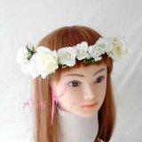 造花オーダーメイド 花冠&ヘッドパーツ(ホワイトローズ)