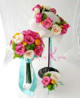 造花オーダーメイドブーケ 22クラッチ・ブトニア・花冠(ローズピンク&シャンパン)