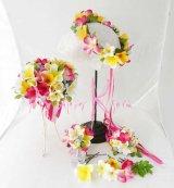 造花オーダーメイドブーケ  シェア4P・ブトニア・ヘッドパーツ・リストレット・花冠(プルメリアミックス)