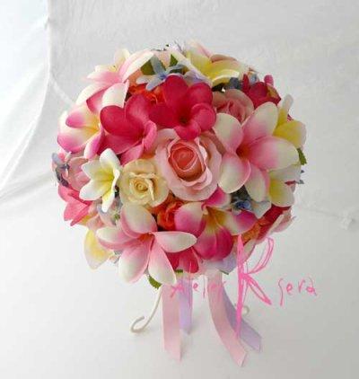 画像2: 造花オーダーメイドブーケ  ラウンド22・ブトニア・ヘッドパーツ・リストレット(カラフルプルメリア5ミックス)