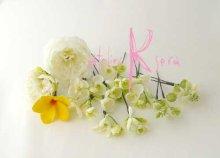 他の写真2: 造花オーダーメイドブーケ 22クラッチ・ブトニア・ヘッドパーツセット(ホワイトピオニー&イエロープルメリア)