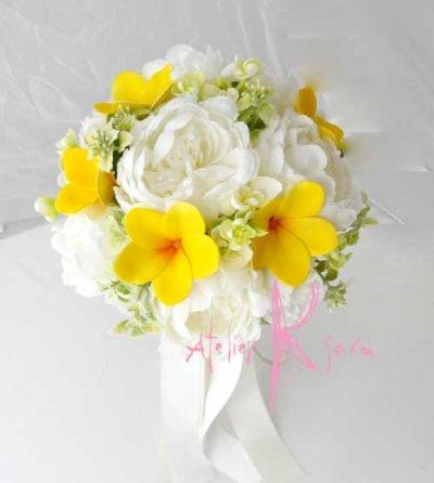 画像2: 造花オーダーメイドブーケ 22クラッチ・ブトニア・ヘッドパーツセット(ホワイトピオニー&イエロープルメリア)
