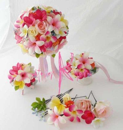 画像1: 造花オーダーメイドブーケ  ラウンド22・ブトニア・ヘッドパーツ・リストレット(カラフルプルメリア5ミックス)