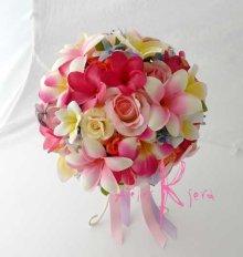 他の写真1: 造花オーダーメイドブーケ  ラウンド22・ブトニア・ヘッドパーツ・リストレット(カラフルプルメリア5ミックス)