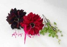 他の写真3: 造花大輪ダリア ラウンド+グリーンネックレスブーケ・ブトニア・ヘッドパーツセット