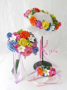 他の写真3: 造花オーダーメイドブーケ クラッチ・リストレット・花冠(ビビッドトロピカルミックス)