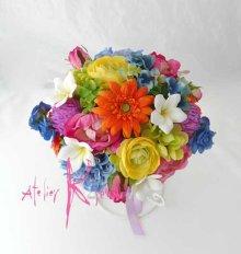 他の写真1: 造花オーダーメイドブーケ クラッチ・リストレット・花冠(ビビッドトロピカルミックス)