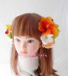 他の写真2: 造花ビタミンカラー♪ハイビスカス&プルメリア ラウンドブーケ・ブトニア・ヘッドパーツセット