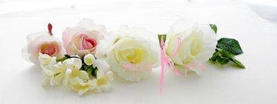 画像4: 造花ホワイトローズプラスベビーピンク♪ ラウンドブーケ・ブトニア・ヘッドパーツセット