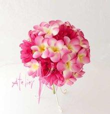 他の写真3: 造花ピンクプルメリア&ガーベラ ラウンドブーケ・ブトニア・ヘッドパーツセット