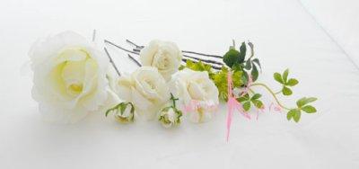 画像4: 造花ホワイトローズ ラウンドブーケ・ブトニア・ヘッドパーツセット
