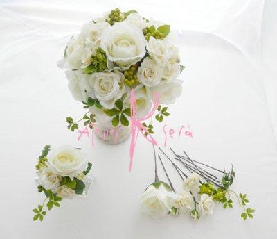 画像1: 造花ホワイトローズ ラウンドブーケ・ブトニア・ヘッドパーツセット