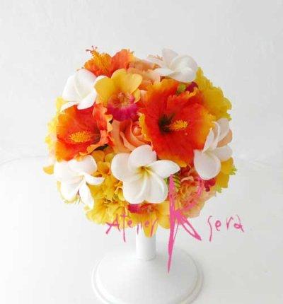 画像1: 造花ビタミンカラー♪ハイビスカス&プルメリア ラウンドブーケ・ブトニア・ヘッドパーツセット