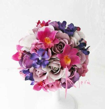 画像1: 造花パープルグラデーション♪ローズ&オーキッド ラウンドブーケ・ブトニア・ヘッドパーツセット