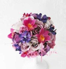 他の写真2: 造花パープルグラデーション♪ローズ&オーキッド ラウンドブーケ・ブトニア・ヘッドパーツセット
