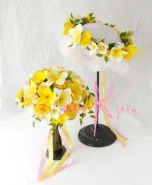 他の写真3: 造花オーダーメイドブーケ クラッチ・花冠(プルメリアW&Y+パール・レース)
