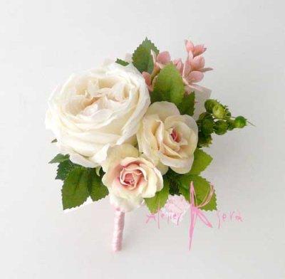 画像4: 造花オーダーメイドブーケ クラッチ24・ブトニア(アンティークローズ)