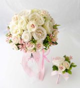 造花オーダーメイドブーケ クラッチ24・ブトニア(アンティークローズ)