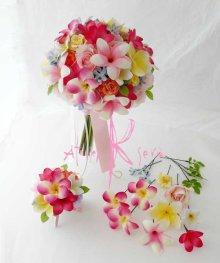 他の写真2: 造花オーダーメイドブーケ クラッチ・ブトニア・ヘッドパーツセット(mixカラープルメリア)
