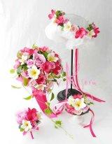 造花オーダーメイドブーケ  3Pシェア・ブトニア・花冠・リストレット(ピンクローズ&プルメリア)