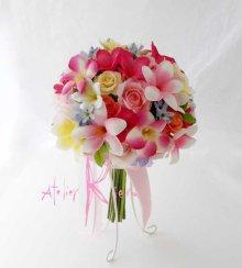 他の写真3: 造花オーダーメイドブーケ クラッチ・ブトニア・ヘッドパーツセット(mixカラープルメリア)