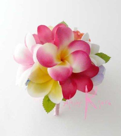 画像4: 造花オーダーメイドブーケ クラッチ・ブトニア・ヘッドパーツセット(mixカラープルメリア)