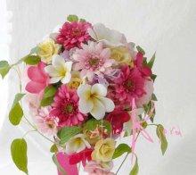 他の写真1: 造花オーダーメイドブーケ Sキャスケード・ブトニア・ヘッドパーツセット(ガーベラ&ローズ&プルメリアmix)