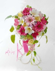 他の写真3: 造花オーダーメイドブーケ Sキャスケード・ブトニア・ヘッドパーツセット(ガーベラ&ローズ&プルメリアmix)