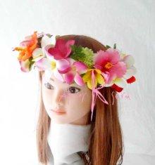 他の写真2: 造花オーダーメイドブーケ ラウンド24・ブトニア・花冠(mixカラー プルメリア&ハイビスカス)