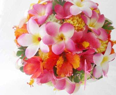 画像2: 造花オーダーメイドブーケ ラウンド24・ブトニア・花冠(mixカラー プルメリア&ハイビスカス)