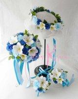 造花オーダーメイドブーケ  クラッチ20・ブトニア・花冠・リストレット(Wプルメリア&ブルーローズ)