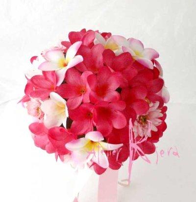 画像2: 造花オーダーメイドブーケ ラウンド23・ブトニア・花冠(ピンクプルメリア&ガーベラ)