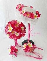 造花オーダーメイドブーケ ラウンド23・ブトニア・花冠・リストレット(ピンク&ホワイトプルメリア)