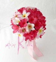 他の写真2: 造花オーダーメイドブーケ ラウンド23・ブトニア・花冠(ピンクプルメリア&ガーベラ)