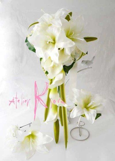 画像2: 造花カサブランカとカラー キャスケードブーケ・ブトニア・ヘッドパーツセット