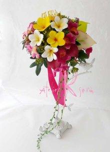 他の写真3: 造花オーダーメイドブーケ クラッチ・フラワータイ・ヘッドパーツ・リストレット(トロピカルMIX&プルメリア)