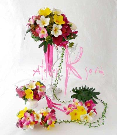 画像1: 造花オーダーメイドブーケ クラッチ・フラワータイ・ヘッドパーツ・リストレット(トロピカルMIX&プルメリア)