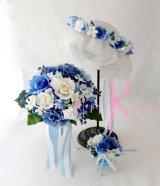 造花オーダーメイドブーケ ラウンド23・ブトニア・花冠(ブルーグラデーションアジサイ&ホワイトローズ)