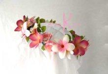 他の写真2: 造花オーダーメイドブーケ ラウンド20・ブトニア・花冠・リストレット(ピンクプルメリア&ローズ)