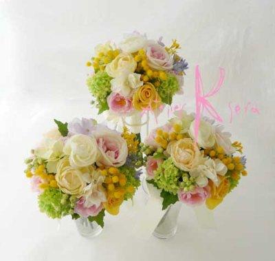 画像1: 造花オーダーメイドブーケ  ブライズメイドミニブーケ(ミックスパステルカラー)