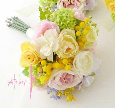 画像3: 造花オーダーメイドブーケ  ブライズメイドミニブーケ(ミックスパステルカラー)