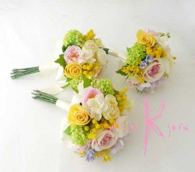 画像2: 造花オーダーメイドブーケ  ブライズメイドミニブーケ(ミックスパステルカラー)