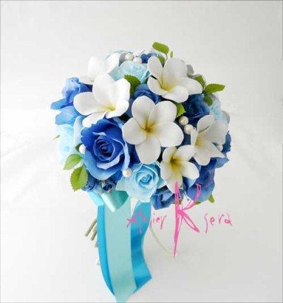 画像2: 造花オーダーメイドブーケ  クラッチ20・ブトニア・花冠・リストレット(Wプルメリア&ブルーローズ+パール)
